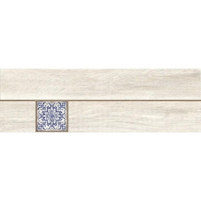 Керамогранит CERSANIT Ornamentwood 598x185 декорированный белый C-OW4M053D