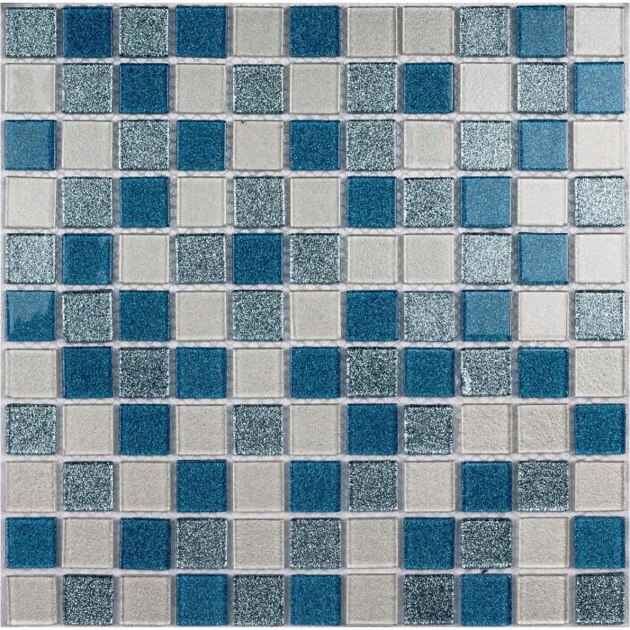 Стеклянная мозаика Shine blue 300х300